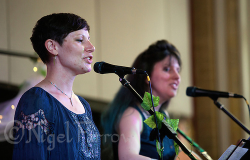 26 JUN 2015 - STOWMARKET, GBR - Celandine, Rosemary Griffith (left) and Carys Deverell (right), performing during the Get on the Soapbox night at the John Peel Centre for Creative Arts in Stowmarket, Great Britain (PHOTO COPYRIGHT © 2015 NIGEL FARROW, ALL RIGHTS RESERVED)