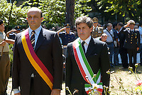 Rome July 19 2008.Annyversary of  the Bombardment district of San Lorenzo by the American occurred on 19 July 1943.The mayor of Rome Gianni Alemanno  makes tribute to the monument the Fallen together to Dario Marcucci President of Town Hall Rome III of the Municipality of Rome.