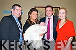 Baby James Keane with his parents Michael & Lisa Keane, Ballydonoghue and his god parents Mark O'Connor & Elaine McCarthy who was christened in Ballydonoghue Church on Sunday last by Fr. John Lawlor and afterwards at the Listowel Arms Hotel.
