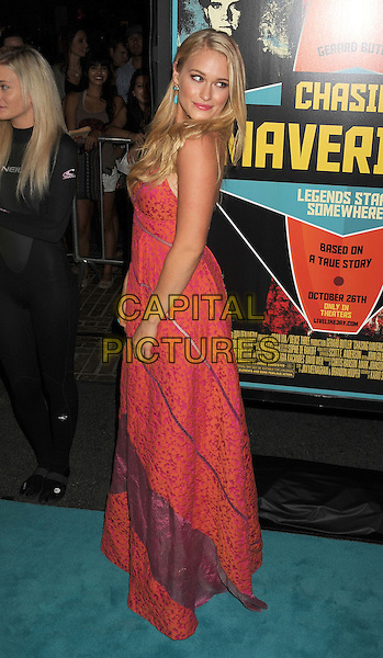 Leven Rambin.Special Screening of 'Chasing Mavericks' held at The Pacific Grove Stadium 14 in Los Angeles, California, USA..October 18th, 2012.full length pink orange print  dress  purple maxi  side .CAP/ROT/TM.©Tony Michaels/Roth Stock/Capital Pictures