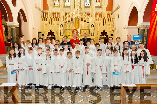 The pupils from Scoil Mhuire NS Killorglin with with Bishop Ray Browne and Fr Michael Fleming and teachers Mr William Joy and Edel Moriarty at their Confirmation in St James church, Killorglin on Tuesday