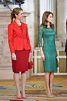 Princess Elena and Princess Letizia receive International Olympic Committee Evaluation Commission Team for a dinner at the Royal Palace.March 20,2013. (ALTERPHOTOS/Pool) /NortePhoto