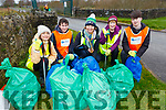 Ciara Dolan, Alan Balfe, Heidi Giles, Catherine Dolan and Morgan O'Connell stand with the rubbish they collected at the major big clean up of the Tralee Bay area on Thursday morning.