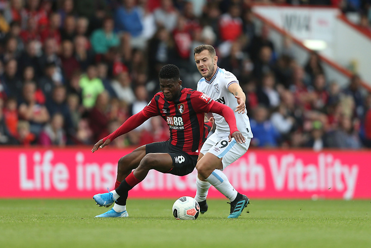 Bournemouth's Jefferson Lerma and West Ham United's Jack Wilshere<br /> <br /> Photographer Rob Newell/CameraSport<br /> <br /> The Premier League - Bournemouth v West Ham United - Saturday 28th September 2019 - Vitality Stadium - Bournemouth<br /> <br /> World Copyright © 2019 CameraSport. All rights reserved. 43 Linden Ave. Countesthorpe. Leicester. England. LE8 5PG - Tel: +44 (0) 116 277 4147 - admin@camerasport.com - www.camerasport.com