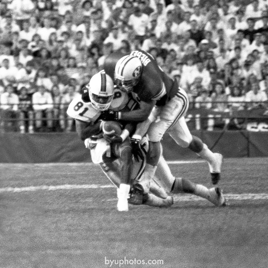 FTB 1303 M 007<br /> <br /> FTB 1303 <br /> Football - BYU vs Miami<br /> September 8, 1990<br /> <br /> Photography by Mark Philbrick (A-K)<br /> Rick Gleason (L-S)<br /> <br /> BYU Photo 2016<br /> All Rights Reserved<br /> photo@byu.edu <br /> (801) 422-7322