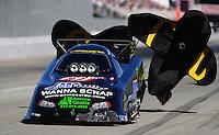 Nov 13, 2010; Pomona, CA, USA; NHRA funny car driver Terry Haddock during qualifying for the Auto Club Finals at Auto Club Raceway at Pomona. Mandatory Credit: Mark J. Rebilas-