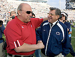 STATE COLLEGE, PA - NOVEMBER 5: Head coach Joe Paterno of the Penn State Nittany Lions and head coach Barry Alvarez of the Wisconsin Badgers share a moment prior to the game at Beaver Stadium on November 5, 2005 in State College, Pennsylvania. The Nittany Lions beat the Badgers . (Photo by David Stluka)
