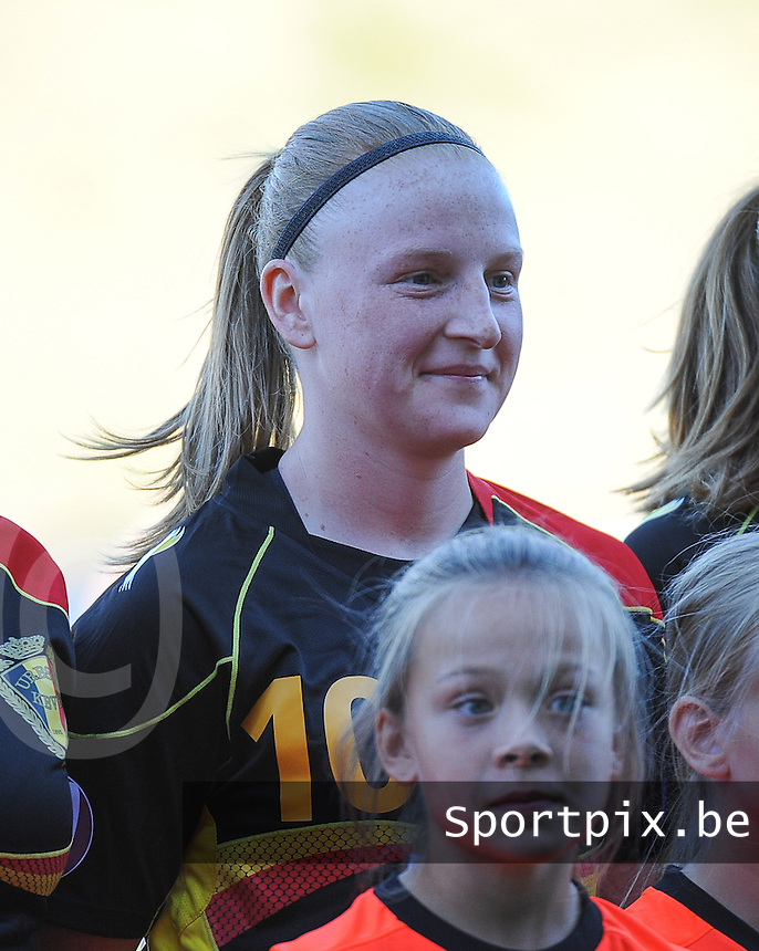 20140718 - Tonsberg , NORWAY : Belgian Silke Leynen pictured during the female soccer match between Women under 19 teams of Norway and Belgium , on the second matchday in group A of the UEFA Women Under19 European Championship at Tonsberg Stadion , Norway . Friday 18th July 2014 . PHOTO DAVID CATRY