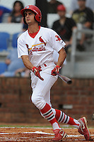 Johnson City Cardinals right fielder Gary Apelian #27 swings at a pitch during a game against the Princeton Rays at Howard Johnson Field on July 15, 2011 in Johnson City, Tennessee. Johnson City won the game 7-6.   (Tony Farlow/Four Seam Images)