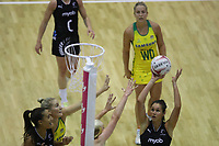 19.01.2019 Silver Ferns Ameliaranne Ekenasio in action during the Silver Ferns v Australia netball test match at The Copper Box Arena. Mandatory Photo Credit ©Michael Bradley Photography/Christopher Lee