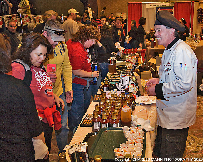 The 23rd Annual National Fiery Foods & Barbeque Show was held at the Sandia Pueblo Casino in March of 2011 and drew vendors and visitors from as far away as Michigan, California and Germany. Steamboat Springs, Colorado Chef Dean Martin doled out sausec and other goodies.