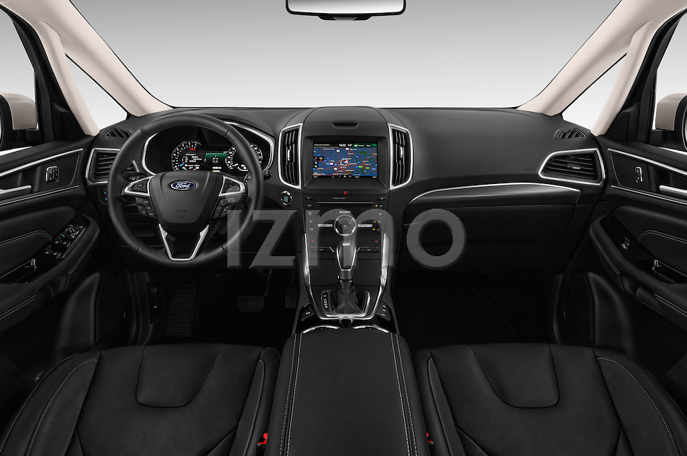 Stock photo of straight dashboard view of 2016 Ford S-Max Titanium 5 Door Minivan Dashboard