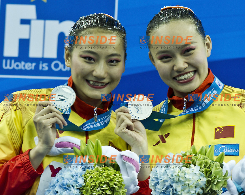 Shanghai ,  (CHN) 16-31 July 2001.XIV FINA Swimming World Championships.day 03.Duet Tech.Final Podium.Gold Russia.Silver China.Bronze Spain...Photo G.Scala/Insidefoto