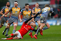 29th February 2020; Thomond Park, Limerick, Munster, Ireland; Guinness Pro 14 Rugby, Munster versus Scarlets; Angus O'Brien of Scarlets gets away from Darren Sweetnam of Munster tackle