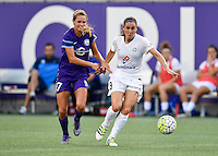 Orlando, FL - Saturday Sept. 24, 2016: Dani Weatherholt, Heather O'Reilly during a regular season National Women's Soccer League (NWSL) match between the Orlando Pride and FC Kansas City at Camping World Stadium.