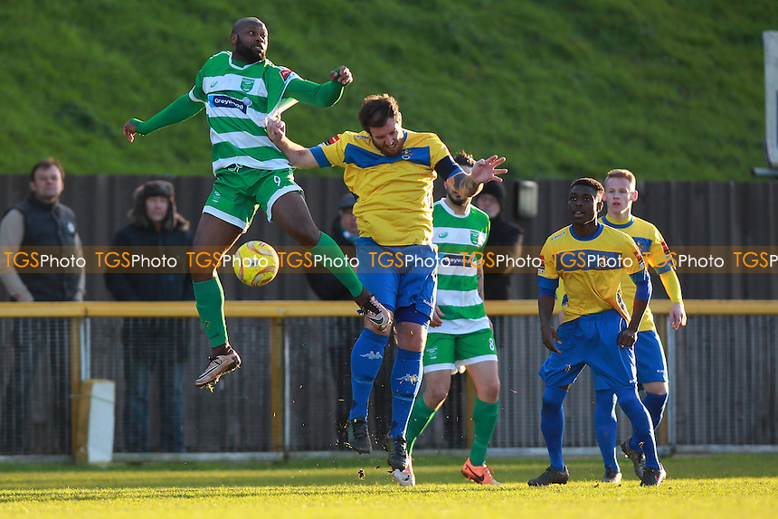 Nick Reynolds in action for Romford during Romford vs Thamesmead Town, Ryman League Divison 1 North Football at Ship Lane, Thurrock, England on 30/01/2016