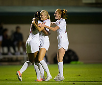 STANFORD, CA - August 30, 2019: Madison Haley, Abby Greubel, Beattie Goad at Maloney Field at Laird Q. Cagan Stadium. The Cardinal defeated the University of Pennsylvania Quakers 5-1.