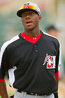 Lewis Brinson (27) of the Hickory Crawdads prior to the game against the Kannapolis Intimidators at CMC-Northeast Stadium on April 14, 2013 in Kannapolis, North Carolina.  The Intimidators defeated the Crawdads 6-0.  (Brian Westerholt/Four Seam Images)