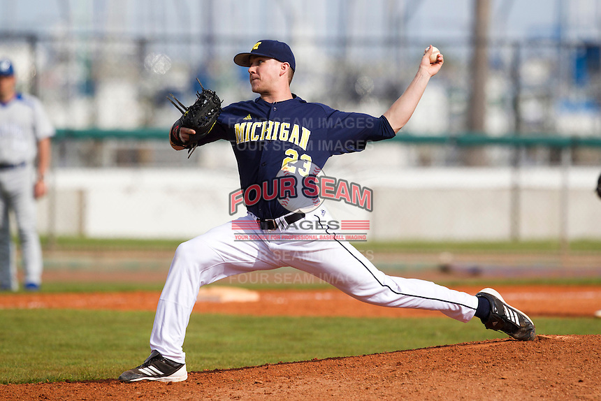 Michigan Wolverines pitcher Logan McAnallen #23 delivers a pitch during a game against the Seton Hall Pirates at the Big Ten/Big East Challenge at Al Lang Stadium on February 18, 2012 in St. Petersburg, Florida.  (Mike Janes/Four Seam Images)