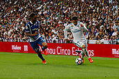 1st October 2017, Santiago Bernabeu, Madrid, Spain; La Liga football, Real Madrid versus Espanyol; Sergio Sanchez (24) Espanyol chases down Jose I Fernandez Iglesias (6) Real Madrid.