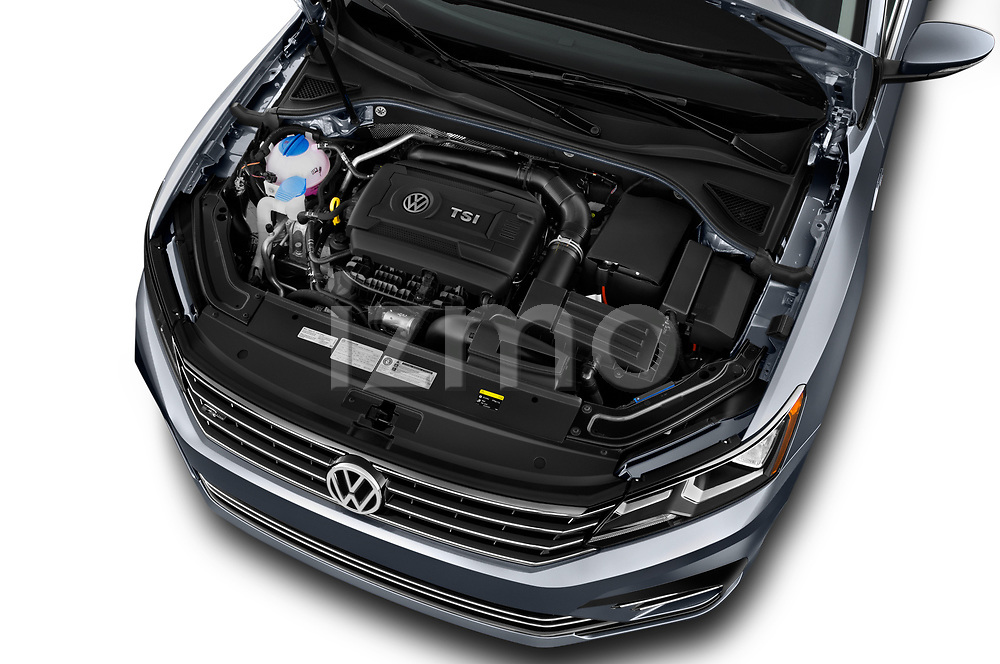 Car Stock 2017 Volkswagen Passat R-Line 4 Door Sedan Engine  high angle detail view