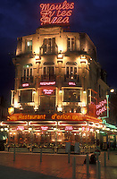AJ1661, Reims, Champagne Region, France, Marne, Europe, Restaurant in downtown Reims illuminated at night in France.