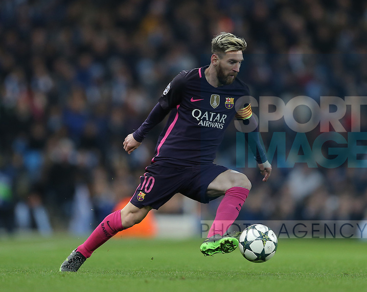 Lionel Messi of Barcelona during the Champions League Group C match at the Etihad Stadium, Manchester. Picture date: November 1st, 2016. Pic Simon Bellis/Sportimage