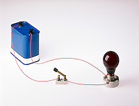 SIMPLE CIRCUIT<br /> (1 of 2)<br /> 12V battery, open switch, unlit bulb<br /> The negative terminal of the battery pushes electrons towards the positive terminal which attracts the electrons. When the circuit is closed the current travels across the bulb filament where resistance causes the filament to heat up and glow.