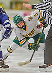 14 February 2015: University of Vermont Catamount Forward Casey Leveillee, a Sophomore from Delanson, NY, takes a first period face-off against the University of New Hampshire Wildcats at Gutterson Fieldhouse in Burlington, Vermont. The Lady Catamounts rallied from a 3-1 deficit to earn a 3-3 tie in the final home game of their NCAA Hockey East season. Mandatory Credit: Ed Wolfstein Photo *** RAW (NEF) Image File Available ***