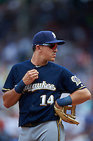 Milwaukee Brewers third baseman Hernan Perez (14) during a game against the Chicago Cubs on August 13, 2015 at Wrigley Field in Chicago, Illinois.  Chicago defeated Milwaukee 9-2.  (Mike Janes/Four Seam Images)