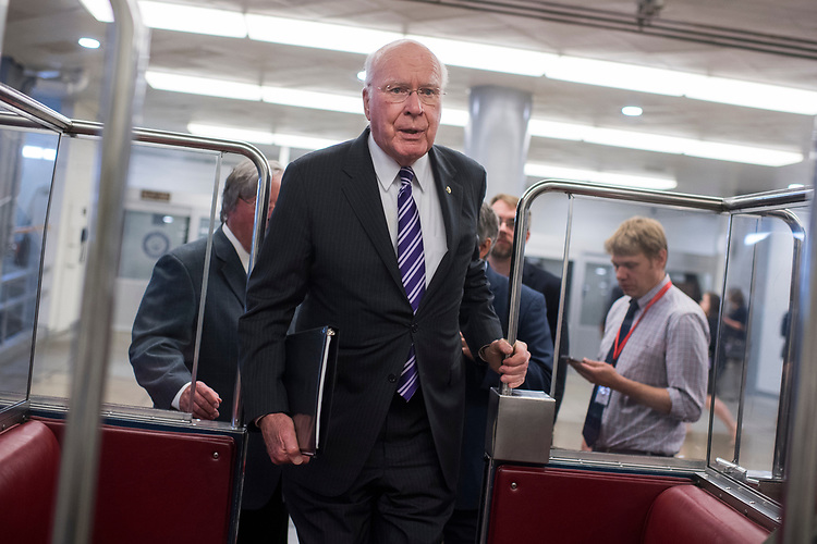 UNITED STATES - MAY 16: Sen. Patrick Leahy, D-Vt., is seen in the senate subway before the Senate Policy luncheons in the Capitol on May 16, 2017. (Photo By Tom Williams/CQ Roll Call)