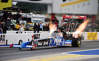 Sept. 16, 2011; Concord, NC, USA: NHRA top fuel dragster driver T.J. Zizzo during qualifying for the O'Reilly Auto Parts Nationals at zMax Dragway. Mandatory Credit: Mark J. Rebilas-US PRESSWIRE