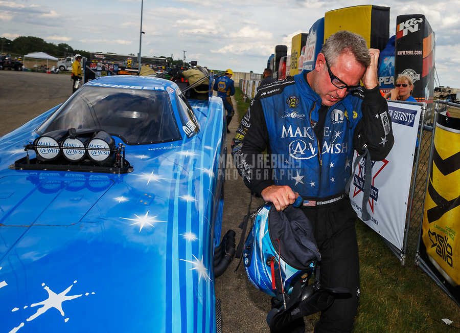 Jul 9, 2017; Joliet, IL, USA; NHRA funny car driver Tommy Johnson Jr reacts after losing in the final round of the Route 66 Nationals at Route 66 Raceway. Mandatory Credit: Mark J. Rebilas-USA TODAY Sports