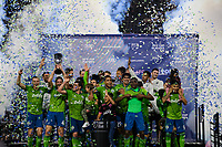 Los Angeles, CA - October 24, 2019.  Seattle Sounders FC celebrate the MLS Western Conference Championship.  Seattle Sounders FC defeated LAFC 3 - 1 in the Western Conference Championship match at Banc of California Stadium in Los Angeles.