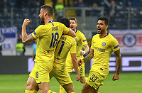 celebrate the goal, Torjubel zum 1:1 Ausgleich von Pedro Rodriguez (Chelsea FC), mit Olivier Giroud (Chelsea FC), Emerson Palmeri (Chelsea FC) - 02.05.2019: Eintracht Frankfurt vs. Chelsea FC London, UEFA Europa League, Halbfinale Hinspiel, Commerzbank Arena DISCLAIMER: DFL regulations prohibit any use of photographs as image sequences and/or quasi-video.