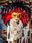 Feathered Carnevale masks, Venice, Italy.