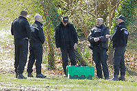 Pictured: Police forensics officers at Ystrad Mynach Park in south Wales, UK. Saturday 13 April 2019<br /> Re: A 13-year-old boy has died after being found unconscious in Ystrad Mynach Park, Caerphilly County, at about 7.20pm on Friday 12 April.<br /> The teen was taken to University Hospital of Wales in Cardiff where he was pronounced dead.