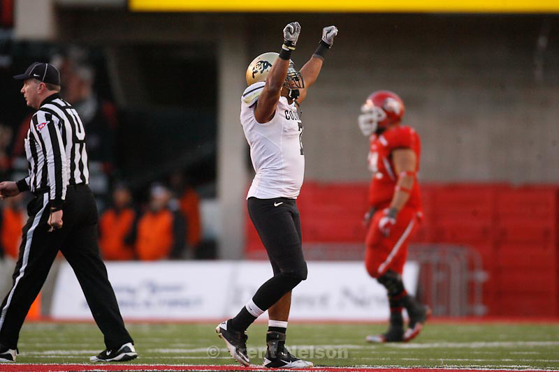 Trent Nelson  |  The Salt Lake Tribune.Colorado's Anthony Perkins celebrates after his tackle of Utah's Tauni Vakapuna forced a turnover during the second half, Utah vs. Colorado, college football at Rice-Eccles Stadium in Salt Lake City, Utah, Friday, November 25, 2011. Colorado's Curtis Cunningham recovered the ball and Colorado won 17-14.