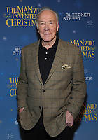 NEW YORK, NY - NOVEMBER 12: Actor Christopher Plummer attends 'The Man Who Invented Christmas' New York Screening at Florence Gould Hall on November 12, 2017 in New York City. <br /> CAP/MPI/JP<br /> &copy;JP/MPI/Capital Pictures