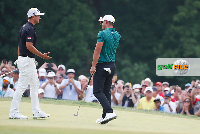 Brooks Koepka (USA) is congratulated by Adam Scott (AUS) after winning on the 18th green during the final round of the 100th PGA Championship at Bellerive Country Club, St. Louis, Missouri, USA. 8/12/2018.<br /> Picture: Golffile.ie | Brian Spurlock<br /> <br /> All photo usage must carry mandatory copyright credit (© Golffile | Brian Spurlock)