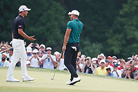 Brooks Koepka (USA) is congratulated by Adam Scott (AUS) after winning on the 18th green during the final round of the 100th PGA Championship at Bellerive Country Club, St. Louis, Missouri, USA. 8/12/2018.<br /> Picture: Golffile.ie | Brian Spurlock<br /> <br /> All photo usage must carry mandatory copyright credit (&copy; Golffile | Brian Spurlock)