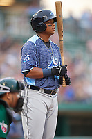 West Michigan Whitecaps right fielder Cesar Gonzalez (38) at bat in front of catcher Luis Campusano (4) during a game against the Fort Wayne TinCaps on May 17, 2018 at Parkview Field in Fort Wayne, Indiana.  Fort Wayne defeated West Michigan 7-3.  (Mike Janes/Four Seam Images)