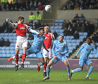 Fleetwood Town's Ched Evans gets a header on goal<br /> <br /> Photographer Mick Walker/CameraSport<br /> <br /> The EFL Sky Bet League One - Coventry City v Fleetwood Town - Tuesday 12th March 2019 - Ricoh Arena - Coventry<br /> <br /> World Copyright &copy; 2019 CameraSport. All rights reserved. 43 Linden Ave. Countesthorpe. Leicester. England. LE8 5PG - Tel: +44 (0) 116 277 4147 - admin@camerasport.com - www.camerasport.com
