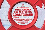 Close up of Coastguard emergency buoyancy ring, Felixstowe, Suffolk, England, UK