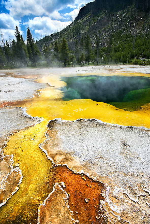 Emerald Pool is one of the most colorful thermal pools in Yellowstone National Park.