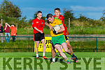 Brian Myers Fossa tackles Connie O'Connor Gneeveguilla during their Div 3 clash in Gneeveguilla on Friday evening
