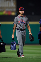 Lehigh Valley IronPigs pitcher Tyler Gilbert (12) walks from the bullpen back to the dugout after a game against the Rochester Red Wings on September 1, 2018 at Frontier Field in Rochester, New York.  Lehigh Valley defeated Rochester 2-1.  (Mike Janes/Four Seam Images)