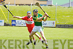 Kerry's Darren Dineen goes for the point against Derry's Kevin Hinphey at Austin Stack park, Tralee on Saturday.