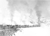 Rotary snowplow OM and four pusher engines clearing snow on Cumbres Pass<br /> D&amp;RG