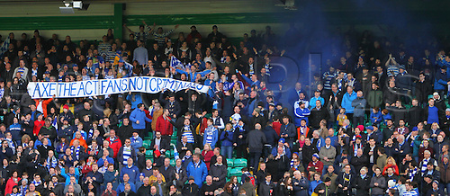 06.03.2016. Celtic Park, Glasgow, Scotland. Scottish Cup. Celtic versus Morton. Morton fans release a protest banner and a smoke bomb